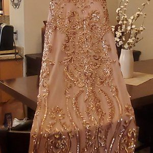 COPY - Floor length Rose gold sequins gown